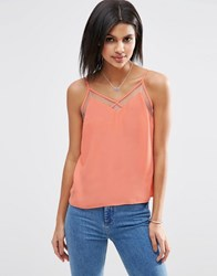 Asos Mesh Insert V Neck Cami Top Coral Orange