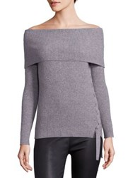 Roi Le Sexy Ribbed Cashmere Off The Shoulder Pullover Heather Grey