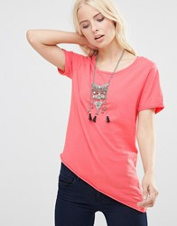 Only Asymmetric T Shirt Rose Of Sharon Pink