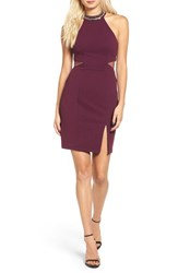 Sequin Hearts Women's Embellished Neck Body Con Dress