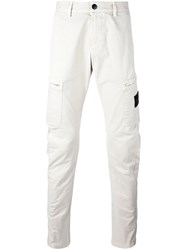 Stone Island Straight Leg Cargo Trousers White