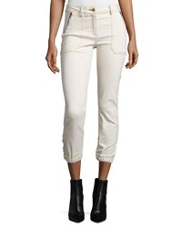 Veronica Beard Cardiff Cropped Denim Cargo Pants Ecru
