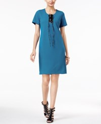 Ny Collection Faux Leather Lace Up Shift Dress Blue Sapphire