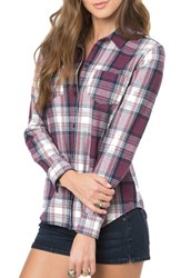 O'neill Women's 'Freestyle' Plaid Button Front Top Total Eclipse