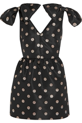 Red Valentino Glitter Finished Polka Dot Faille Mini Dress