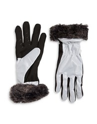 Ur Powered Faux Fur Trimmed Gloves White
