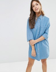 Pull And Bear Denim Shirt Dress Lightblue