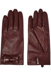 Tory Burch Bow Embellished Leather Gloves Red