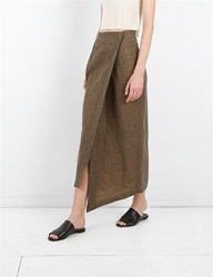 Creatures Of Comfort Izak Skirt Oiled Linen Olive