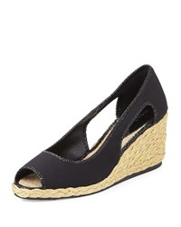 Donald J Pliner Charlot Open Toe Espadrille Wedge Pump Black