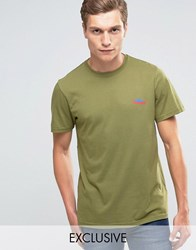 Penfield T Shirt With Mountain Logo In Olive Exclusive Ve Green