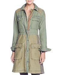 Free People Color Block Military Coat Moss