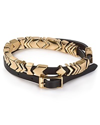 House Of Harlow 1960 Aztec Leather Wrap Bracelet Black Gold