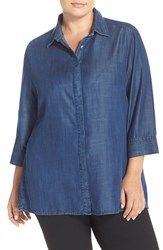 Plus Size Women's Foxcroft Tencel Denim Tunic Shirt