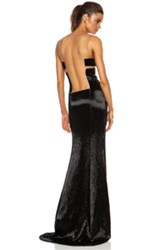 Kaufman Franco Kaufmanfranco Liquid Glass Column Gown In Black Metallics Black Metallics