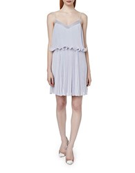 Erin Fetherston Mattie Pleated Ruffle Popover Dress Periwinkle
