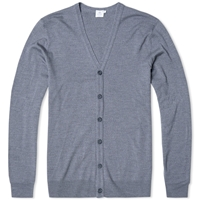 Sunspel Merino V Neck Cardigan Mid Grey Melange