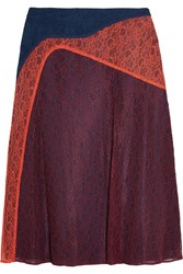 Tory Burch Kassia Paneled Lace Skirt Navy Burgundy