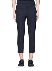 Neil Barrett Pinstripe Wool Blend Cropped Pants Blue