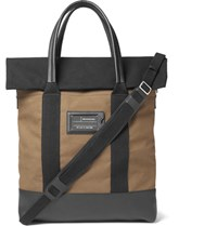 Balenciaga Leather Trimmed Canvas Tote Bag Army Green