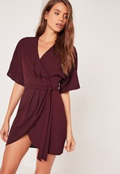 Missguided Kimono Wrap Over Belted Mini Dress Burgundy Purple