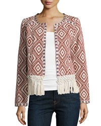 Tularosa Santa Fe Tribal Print Jacket W Fringe Burnt Red