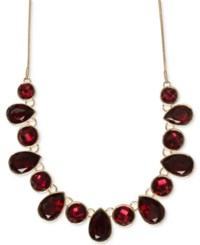 Nine West Multiple Faceted Stone Collar Necklace Red