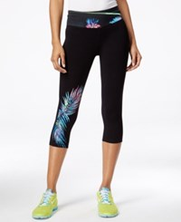 Material Girl Juniors' Palm Graphic Foldover Cropped Leggings Only At Macy's Classic Black