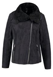 Gipsy Anneli Faux Leather Jacket Navy Dark Blue