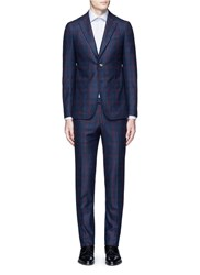 Isaia 'Cortina' Contrast Check Wool Suit Blue