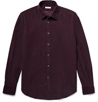 Boglioli Slim Fit Cotton Corduroy Shirt Burgundy