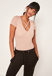 Missguided Pink Harness Neck Short Sleeve Bodysuit