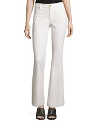 Minnie Rose Flare Leg Stretch Twill Pants White