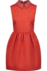 Mcq By Alexander Mcqueen Studded Satin Mini Dress Tomato Red