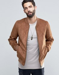 Asos Faux Suede Bomber With Quilted Sleeve In Tan Tan