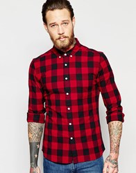 Asos Skinny Shirt With Buffalo Check In Burgundy With Long Sleeves Red