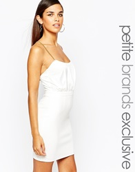 Lipstick Boutique Petite Bodycon Dress With Gold Chain Cross Back Detail White