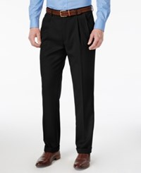 Louis Raphael Men's Straight Fit Double Pleated Dress Pants Black