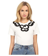 Marc By Marc Jacobs Embroidered Collar Tee White Multi Women's T Shirt