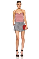 Red Valentino Striped Romper In Stripes Red Blue