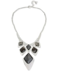Robert Lee Morris Soho Silver Tone Gray Stone Statement Necklace