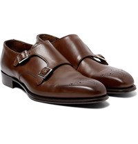 Kingsman George Cleverley Brogue Detailed Leather Monk Strap Shoes Dark Brown
