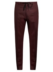 Kenzo Slim Leg Wool Flannel Trousers Burgundy