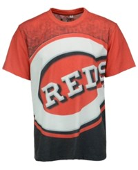 Forever Collectibles Men's Cincinnati Reds Big Logo Sublimated T Shirt Black Red