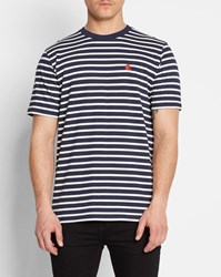 Carhartt Navy With White Stripes Chest Logo Round Neck T Shirt Blue