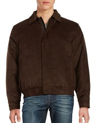 Weatherproof Faux Suede Zip Front Coat Chocolate