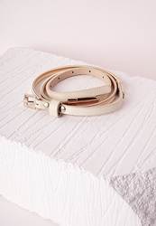 Missguided Chain Pu Skinny Belt Nude White