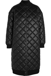 Stella Mccartney Marisa Quilted Faux Leather Coat Black