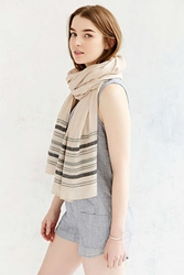 Urban Outfitters Beaded Border Stripe Blanket Scarf Tan