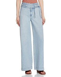 Free People Augusta Belted Flare Jeans In Pale Blue